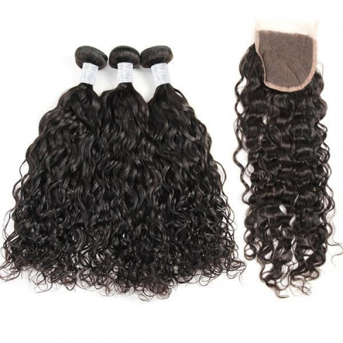 (3PCS+1) 3PCS 100% Human Hair Natural Color Water wave Bundles-9A & 1PC 4x4 Lace Closure Free Part