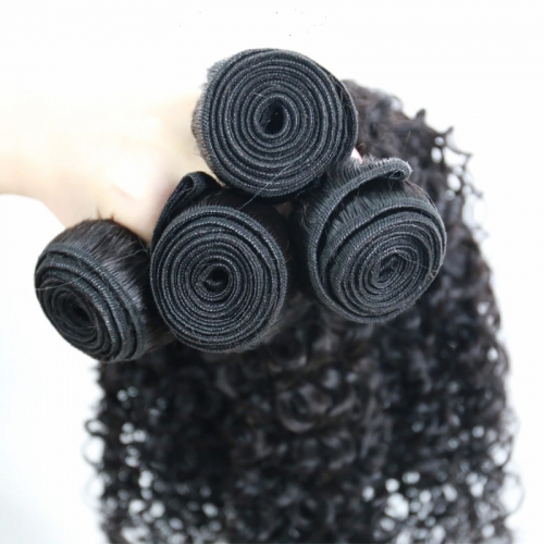 (3PCS+1) 3PCS/4PCS 100% Human Hair Natural Color Curly Bundles-9A & 1PC 4x4 Lace Closure Free Part
