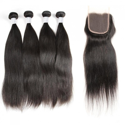 (3PCS+1)  100% Human Hair Natural Color Straight Bundles-9A & 1PC 4x4 Lace Closure Free Part