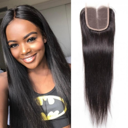 100% Human Hair Natural Color Straight 4x4 Lace Closure with Baby Hair