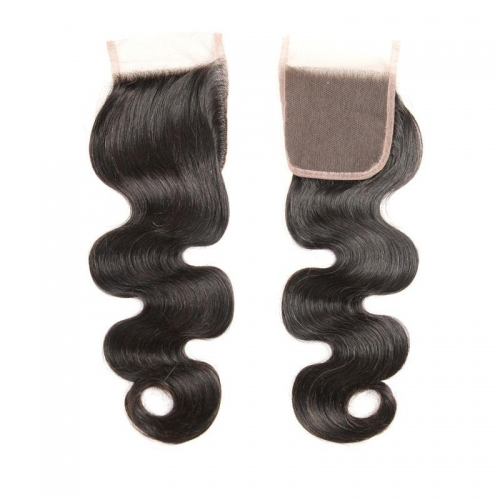 100% Human Hair Natural Color Body wave 4x4 Lace Closure with Baby Hair