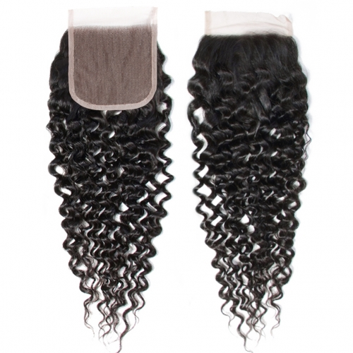 100% Human Hair Natural Color Curly hair 4x4 Lace Closure with Baby Hair