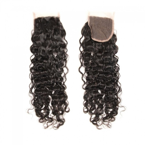 100% Human Hair Natural Color Water wave 4x4 Lace Closure with Baby Hair