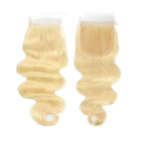 100% Human Hair #613 Blonde 4x4 Lace Closure Body Wave with Baby Hair