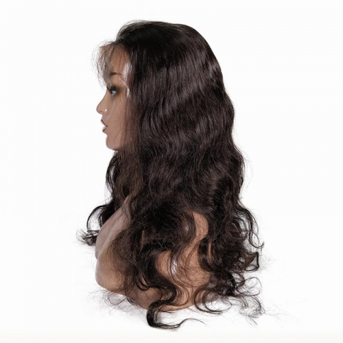 100% Virgin Hair Natural Color Lace front Wig body wave with Baby Hair Density 180%
