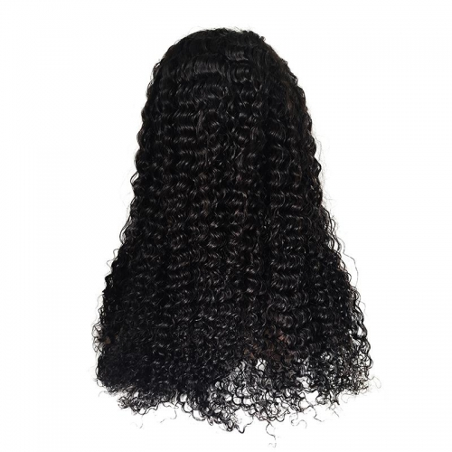100% Virgin Hair Natural Color Lace front Wig Deep Wave with Baby Hair
