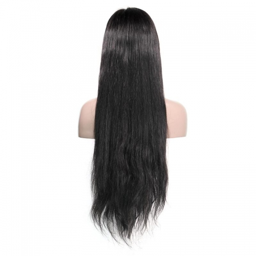 100% Virgin Hair Natural Color Lace front Wig Straight with Baby Hair  Density 180%