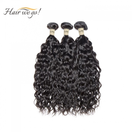 (3PCS)100% Human Hair Natural Color Water wave Bundles-9A